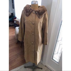 Jackets & Blazers - 1960's Vintage Camel Suede Fur Collar Coat